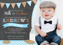Milk Cookies Chalkboard Blue Photo Birthday Invitations