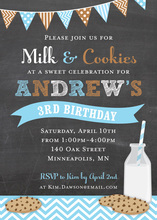 Flag Milk Cookies Chalkboard In Blue Birthday Invites