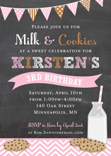 Multi-Flag Milk Cookies Chalkboard In Pink Invitations