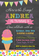 Ice Cream Chalkboard Birthday Party Invitations