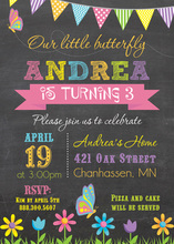 Our Little Butterfly Chalkboard Birthday Invitations