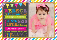 Bright Multi-Color Banners Chalkboard Invitations
