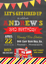 Fire Truck Chalkboard Stripe Banners Invitations