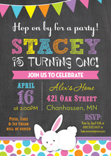 Easter Bunny Girly Dots Chalkboard Birthday Invitations