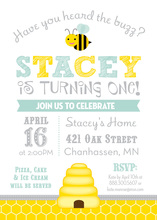 Hear The Buzz Honeycomb Aqua Birthday Invitations