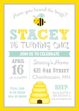 Yellow Border Honey Bee Aqua Birthday Invitations