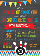 Classic Bowling Ball Chalkboard Chevrons Invitations