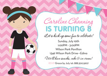 Pink Chevrons Dark Hair Soccer Girl Birthday Invitation