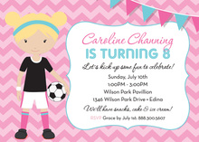 Pink Chevrons Blonde Soccer Girl Birthday Invitations