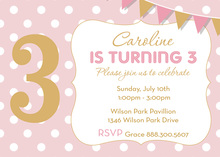 Turning Age Pink Polka Dot Golden Birthday Invitations
