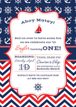 Red Navy Chevrons Nautical Pattern Sailboat Invitation