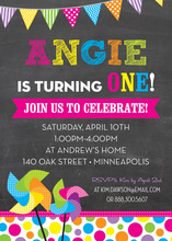 Very Bright Pinwheels Chalkboard On Board Invitations