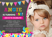 Bright Pinwheels Chalkboard Photo Birthday Invitations