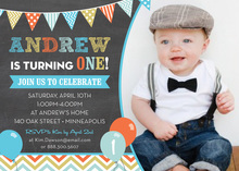 Multicolored Balloons Chalkboard Photo Invitations