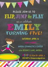 Trampoline Girl Bright Stripes Chalkboard Invitations
