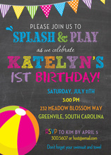 Girls Beach Ball Pool Birthday Party Invitations