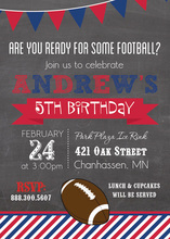 Super Football Stripes Chalkboard Red Blue Invitations