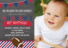 Football Stripes Chalkboard Red Blue Photo Card