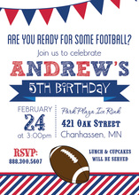 Football Stripes Red Blue White Background Invitations