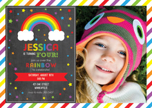 Rainbows Stars On Chalkboard Photo Birthday Invitation