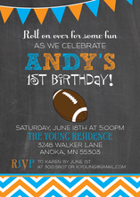 Football Chevrons Chalkboard Orange Blue Invitations
