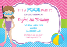 Snorkel Girl Pool Birthday Party Invitations