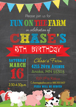 Farm Animals Chalkboard Birthday Party Invitations