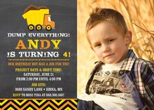 Orange Dump Truck Chevrons Photo Birthday Invitations