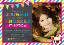 Bright Banners Unicorn Photo Birthday Invitations