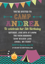 Camping Girls Chalkboard Birthday Invitations