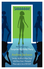 Surprise Silhouette Woman Birthday Invitations