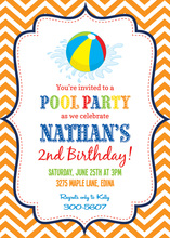 Orange Chevrons Pool Party Beach Ball Invitations