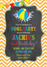 Orange Pool Party Beach Ball Chalkboard Invitations