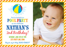 Orange Stripes Pool Party Beach Ball Photo Invitations