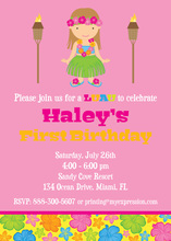 Multicolored Hibiscus Brunette Luau Girl Pink Invites