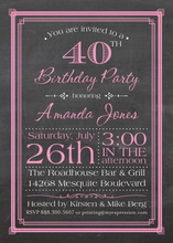 Pink Deco Borders Chalkboard Birthday Invitations
