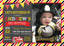 Fire Truck Chalkboard With Banners Photo Invitations