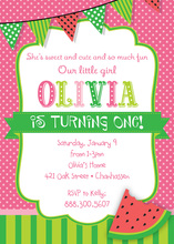 Watermelon Pink Polka Dots Birthday Party Invitations