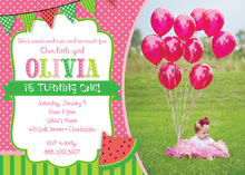 Watermelon Pink Polka Dots Photo Birthday Invitations