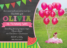 Watermelon Chalkboard Photo Birthday Invitations