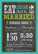 Turquoise Green Double Border Chalkboard Invitations