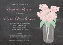 Pink Hydrangeas Bottle Chalkboard Wedding Invites