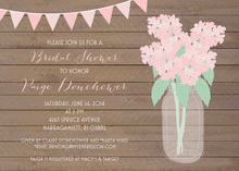 Pink Hydrangeas Wood Planks Shower Invitations