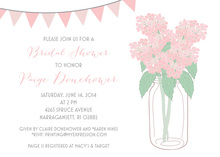 Pink Hydrangeas Pink Banners Bridal Shower Invitations