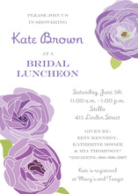Purple Lavender Flower Bridal Shower Party Invitations