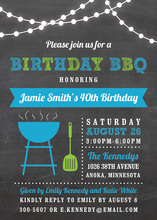 Birthday BBQ Lights Blue Invitations