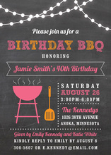 Birthday BBQ Lights Pink Invitations