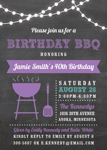 Birthday BBQ Lights Purple Invitations