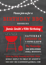 Birthday BBQ Lights Red Invitations