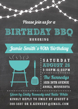 Birthday BBQ Lights Turquoise Invites